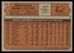 1972 Topps #632  Mike Hegan  Back Thumbnail
