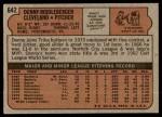 1972 Topps #642  Dennis Riddleberger  Back Thumbnail