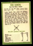 1963 Fleer #49  Rod Kanehl  Back Thumbnail