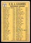 1970 Topps #67   -  Steve Carlton / Bob Gibson / Juan Marichal NL ERA Leaders Back Thumbnail