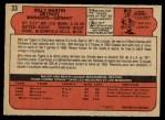 1972 O-Pee-Chee #33  Billy Martin  Back Thumbnail
