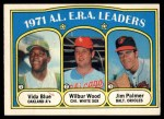 1972 O-Pee-Chee #92   -  Vida Blue / Jim Palmer / Wilbur Wood AL ERA Leaders   Front Thumbnail