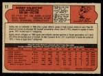 1972 O-Pee-Chee #11  Bobby Valentine  Back Thumbnail