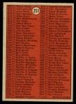 1972 O-Pee-Chee #251   Checklist 3 Back Thumbnail
