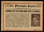 1972 O-Pee-Chee #442   -  Thurman Munson In Action Back Thumbnail
