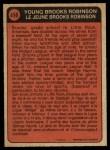 1972 O-Pee-Chee #498   -  Brooks Robinson Boyhood Photo Back Thumbnail