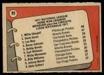 1972 O-Pee-Chee #89   -  Hank Aaron / Lee May / WIllie Stargell NL HR Leaders   Back Thumbnail