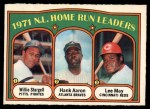 1972 O-Pee-Chee #89   -  Hank Aaron / Lee May / WIllie Stargell NL HR Leaders   Front Thumbnail