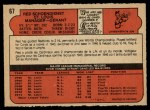 1972 O-Pee-Chee #67  Red Schoendienst  Back Thumbnail