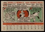 1956 Topps #242  Hersh Freeman  Back Thumbnail