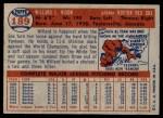 1957 Topps #189  Willard Nixon  Back Thumbnail