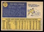 1970 Topps #142  Fritz Peterson  Back Thumbnail