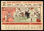 1956 Topps #81  Wally Westlake  Back Thumbnail
