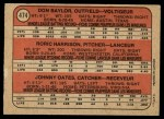 1972 O-Pee-Chee #474   -  Don Baylor / Roric Harrison / Johnny Oates Orioles Rookies   Back Thumbnail