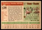 1955 Topps #128  Ted Lepcio  Back Thumbnail