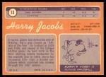 1970 Topps #13  Harry Jacobs  Back Thumbnail