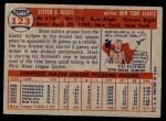1957 Topps #123  Steve Ridzik  Back Thumbnail