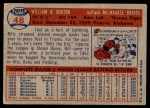 1957 Topps #48  Billy Bruton  Back Thumbnail