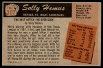 1955 Bowman #107  Solly Hemus  Back Thumbnail