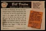 1955 Bowman #296  Bill Virdon  Back Thumbnail
