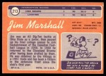 1970 Topps #213  Jim Marshall  Back Thumbnail