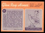 1970 Topps #61  Glen Ray Hines  Back Thumbnail