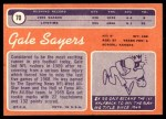 1970 Topps #70  Gale Sayers  Back Thumbnail