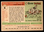 1955 Topps #6  Stan Hack  Back Thumbnail
