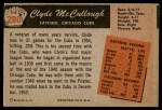 1955 Bowman #280  Clyde McCullough  Back Thumbnail