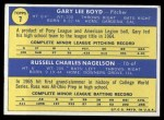 1970 Topps #7   -  Gary Boyd / Russ Nagelson Indians Rookies Back Thumbnail