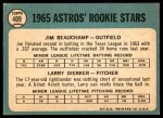 1965 Topps #409   -  Larry Dierker / Jim Beauchamp Astros Rookies Back Thumbnail