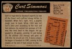 1955 Bowman #64  Curt Simmons  Back Thumbnail