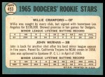 1965 Topps #453   -  Willie Crawford / John Werhas Dodgers Rookies Back Thumbnail