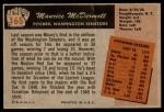 1955 Bowman #165  Mickey McDermott  Back Thumbnail
