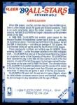 1989 Fleer Sticker #2  Hakeem Olajuwon  Back Thumbnail