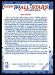 1989 Fleer Sticker #6  Isiah Thomas  Back Thumbnail