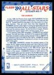 1989 Fleer Sticker #11  Tom Chambers  Back Thumbnail