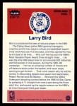 1986 Fleer Sticker #2  Larry Bird  Back Thumbnail