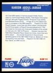 1987 Fleer Stickers #8  Kareem Abdul-Jabbar  Back Thumbnail