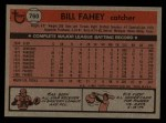 1981 Topps Traded #760 T Bill Fahey  Back Thumbnail