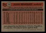 1981 Topps Traded #733 T Juan Beniquez  Back Thumbnail
