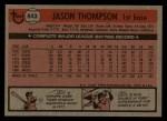 1981 Topps Traded #843 T Jason Thompson  Back Thumbnail
