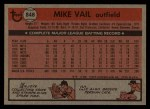 1981 Topps Traded #848 T Mike Vail  Back Thumbnail