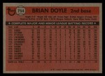 1981 Topps Traded #754 T Brian Doyle  Back Thumbnail