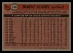 1981 Topps Traded #740 T Bobby Bonds  Back Thumbnail
