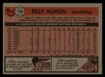 1981 Topps Traded #730 T Bill Almon  Back Thumbnail