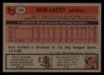 1981 Topps Traded #784 T Bob Lacey  Back Thumbnail