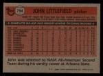 1981 Topps Traded #794 T John Littlefield  Back Thumbnail