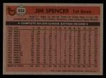 1981 Topps Traded #832 T Jim Spencer  Back Thumbnail