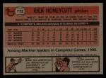 1981 Topps Traded #772 T Rick Honeycutt  Back Thumbnail